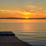 Sunset at bridge Royalty Free Stock Image
