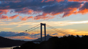 Sunset on bridge to  Oshima Island in Seto Inland Sea Royalty Free Stock Image