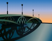 Sunset bridge vector. Bridge on sunset background, vector vector illustration