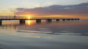 Sunset with a bridge stock video footage