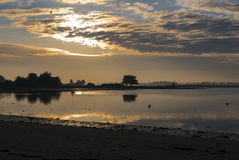 Sunset in Brittany Morbihan, France. Royalty Free Stock Images