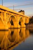 Sunset on the Broadway Bridge. The Broadway Bridge can be found in Saskatoon, Saskatchewan, Canada stock image