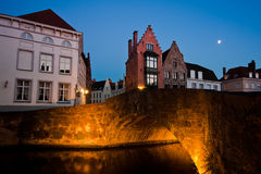 Sunset in Bruges, Belgium Stock Images