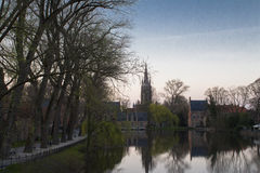 Sunset Brugge. A beautiful sunset at the Lake of love in Brugge royalty free stock photos
