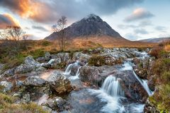Sunset at Buachaille Etive royalty free stock images