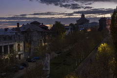 Sunset in Bucharest city Royalty Free Stock Photo