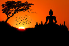 Sunset with Buddha Stock Image