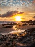 Sunset at Bude Cornwall. Beautiful sunset on a beach at Bude Cornwall England UK Europe Royalty Free Stock Photos