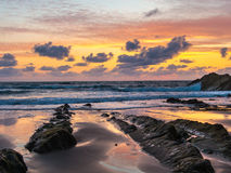 Sunset at Bude Cornwall Royalty Free Stock Photography