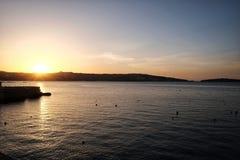 Sunset at Bugibba town Malta. Sunset at Bugibba town of Malta Royalty Free Stock Image