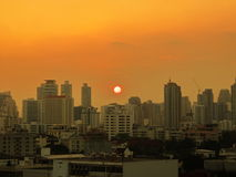 Sunset. And building in the city Royalty Free Stock Images