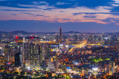 Sunset at 63 Building of Seoul City,South Korea.  Stock Photography