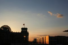 Sunset at the Bundestag Royalty Free Stock Photos