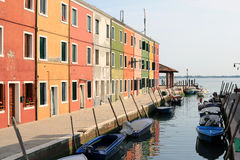 Sunset in Burano Italy. Colorful houses on the waterfront Burano Venice, Italy Royalty Free Stock Photography