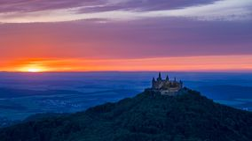 Sunset at the Burg Hohenzollern Castle stock video footage
