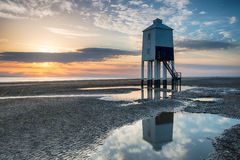 Sunset at Burnham On Sea. Beuatiful sunset over the beach and lighthouse at Burnham on Sea in Somerset stock photography