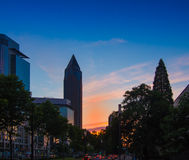 Sunset in the business district of Frankfurt, Germany Royalty Free Stock Image
