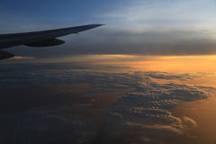 Sunset  from cabin airplane Royalty Free Stock Photography