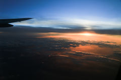 Sunset  from cabin airplane Royalty Free Stock Photos