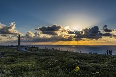 Sunset in Cabo da Roca, the last western part of Europe. The view of the atlantic ocean from the last western part of Europe royalty free stock photography
