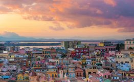 Sunset on Cagliari, aerial panorama of old city center Royalty Free Stock Photos