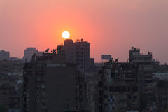 Sunset in Cairo center Stock Images