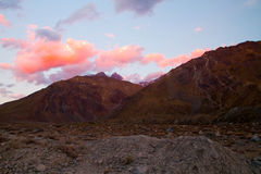 Sunset, Cajon del Maipo, Chile Stock Photo
