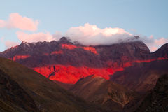 Sunset Cajon del Maipo, Chile Royalty Free Stock Image
