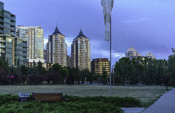 Sunset on Calgary skyline. Sunset on Calgary downtown by the Bow river banks royalty free stock image