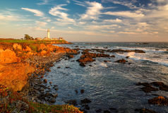 Sunset on the California coast, Pigeon point Lighthouse Stock Images