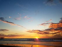 Sunset Calm Pacific Ocean Beach Relaxation Color 4k Stock Photography