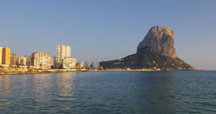 Sunset calpe sea view of famous summer place stock footage