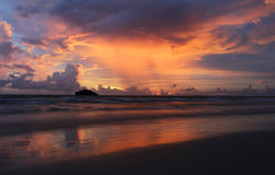 Sunset in Cambodia. Beautiful sunset taken off the coast of Cambodia near Sihanoukville Royalty Free Stock Image