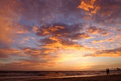 Sunset on Cambodian beach in June. Sunset over sea on Cambodian beach in June Stock Photos
