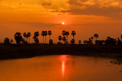 Sunset in the cambodian countryside Stock Photos