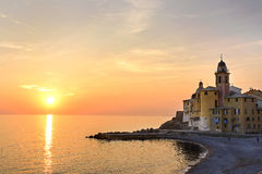 Sunset in Camogli Royalty Free Stock Photos