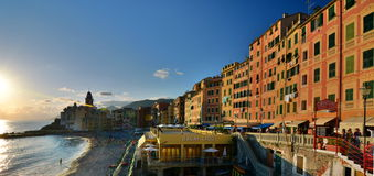 Sunset in Camogli. Liguria, Italy Stock Image