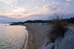 Sunset at campers favourite cape in Macedonia Greece Stock Photo