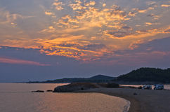 Sunset at campers favourite site in Greece Stock Image