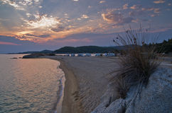 Sunset at campers favourite site in Greece Stock Photography
