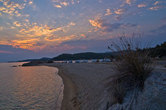 Sunset at campers favourite site in Macedonia Greece Stock Photography