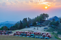 Sunset at camping area of Doi Samer Dao Stock Images