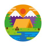 Sunset camping stock illustration