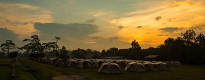 Sunset Camping tents Royalty Free Stock Images