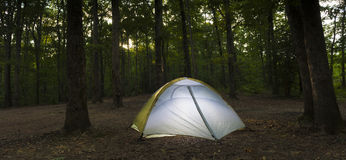 Sunset campsite and tent Royalty Free Stock Photography