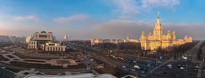 Sunset campus of Moscow university in spring from above Royalty Free Stock Photo