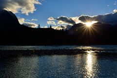 Sunset in the Canadian Rockies along the Icefields Parkway between Banff and Jasper Stock Images