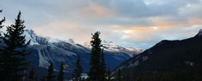 Sunset in the Canadian Rockies along the Icefields Parkway between Banff and Jasper Royalty Free Stock Image