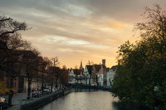 Sunset on the canal in Bruges, Belgium Royalty Free Stock Image
