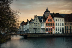Sunset on the canal in Bruges, Belgium Stock Image